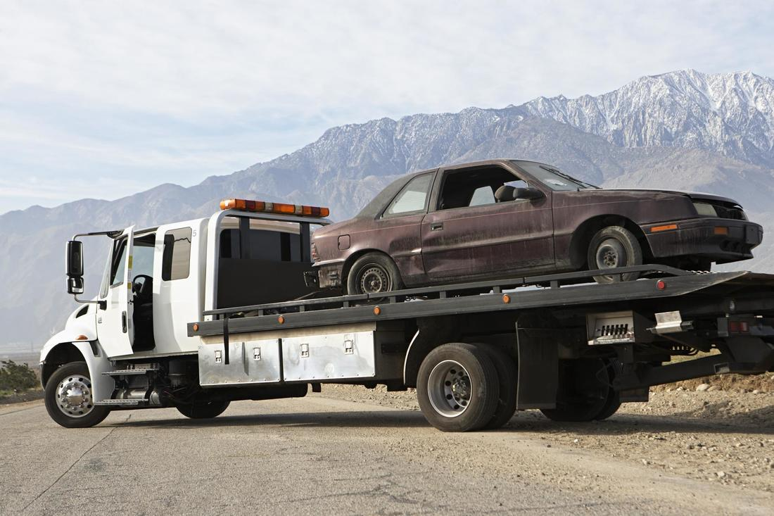 towed car on a towing truck